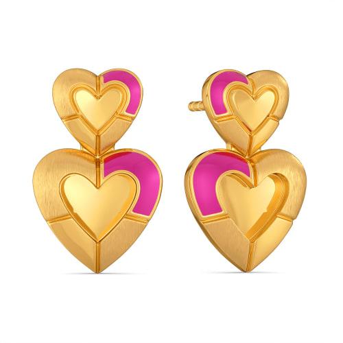 Romance Me Fuchsia Gold Earrings