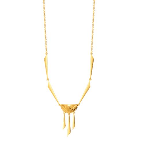 Fan of Pleats Gold Necklaces