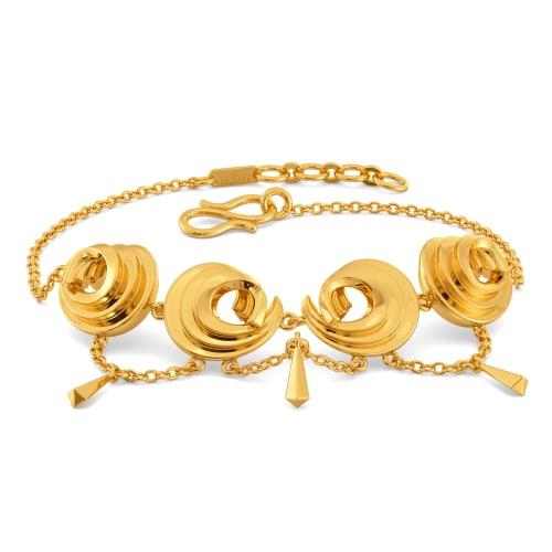 Sharp Swirls Gold Bracelets