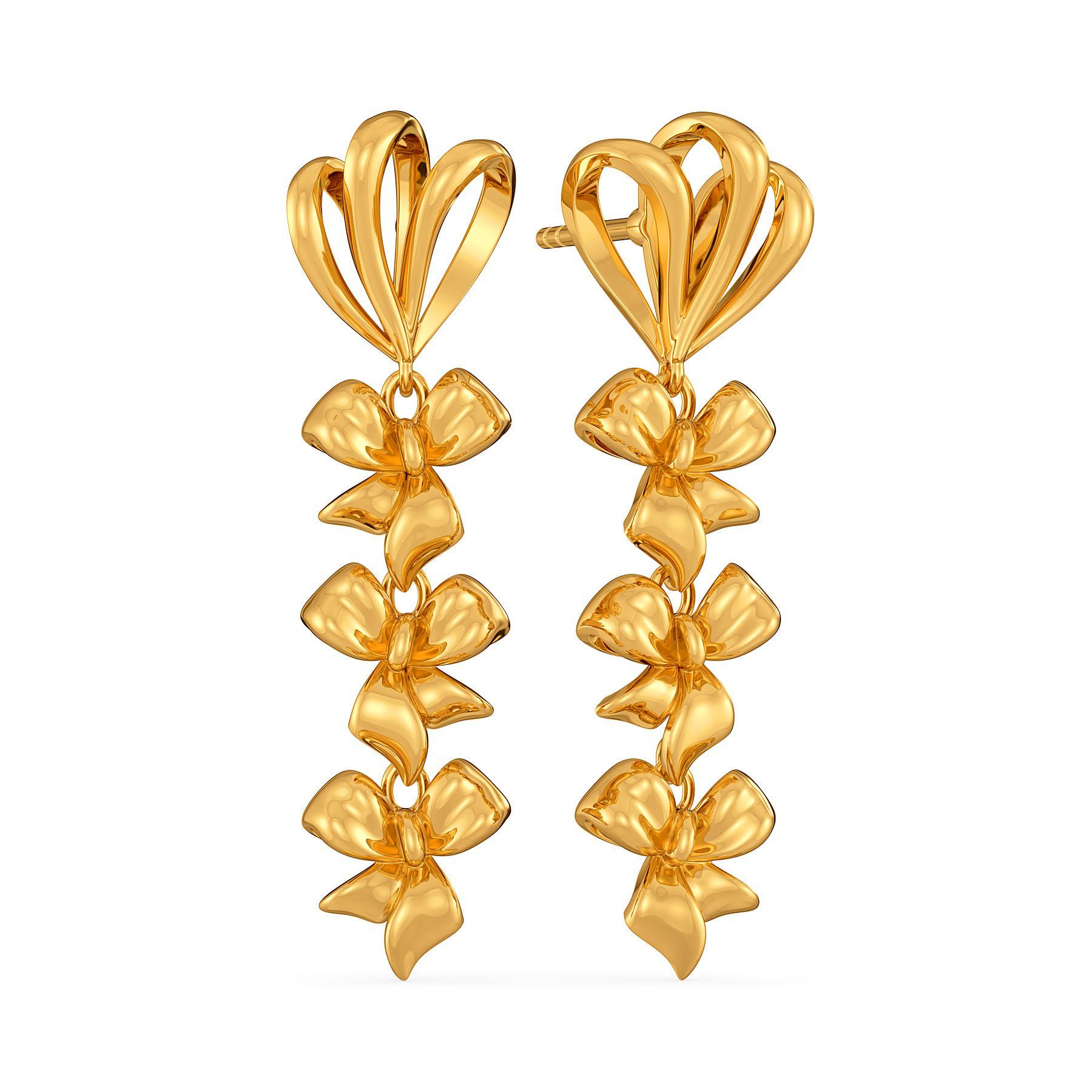 Bow Bunched Gold Earrings