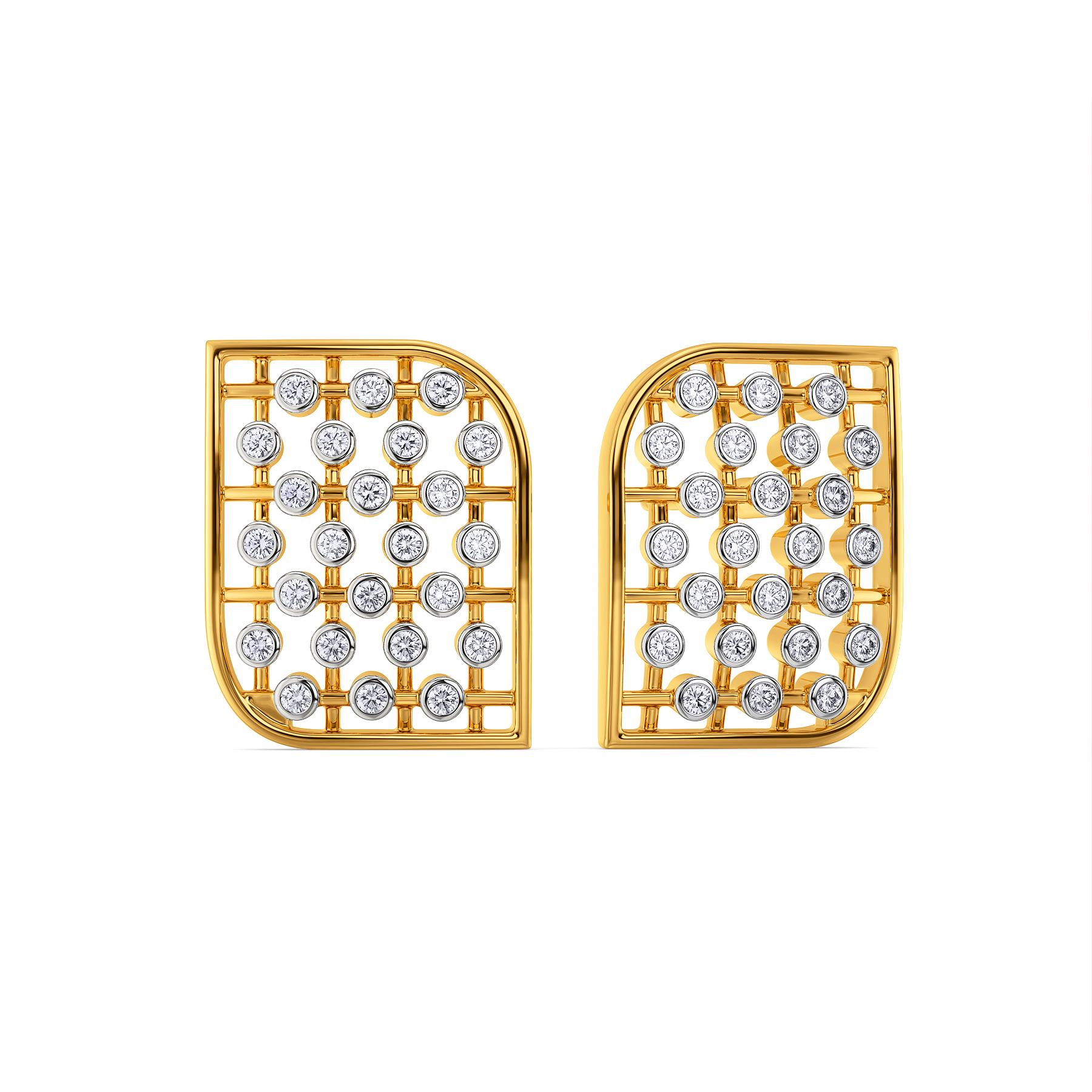 Wide Stride Diamond Earrings