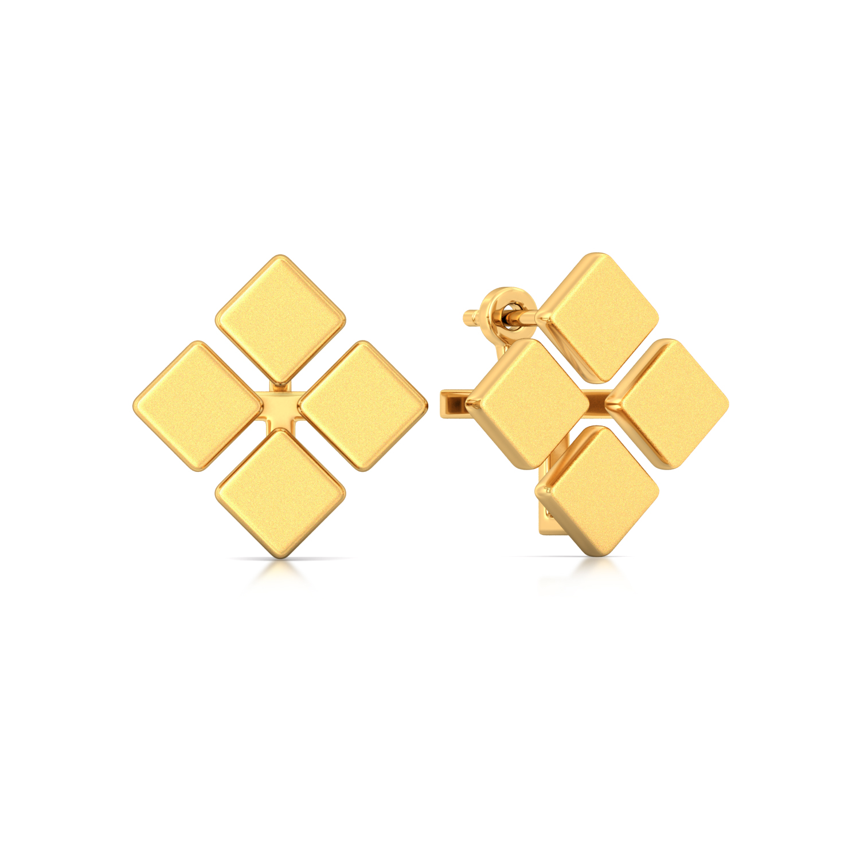 Tetracube Gold Earrings