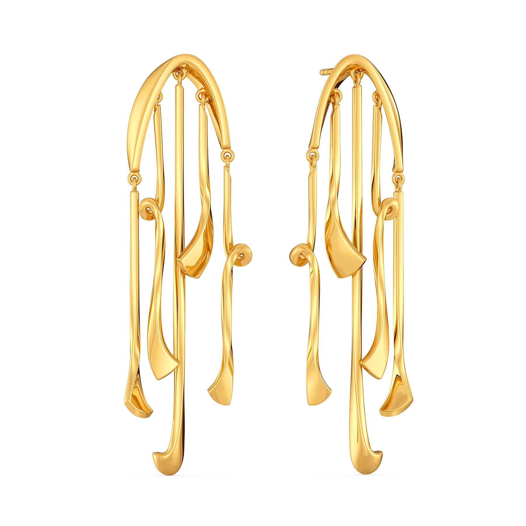 Disco Twists Gold Earrings