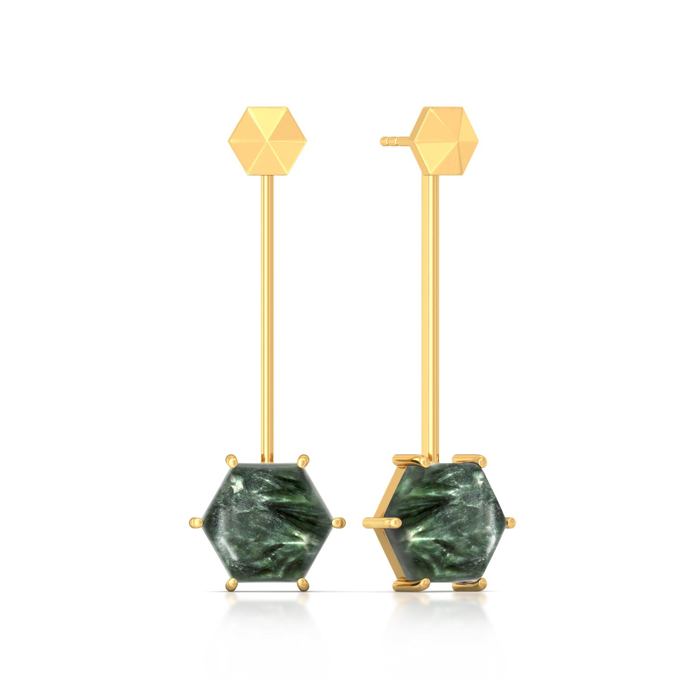 Hexa-Seraphinite  Gemstone Earrings