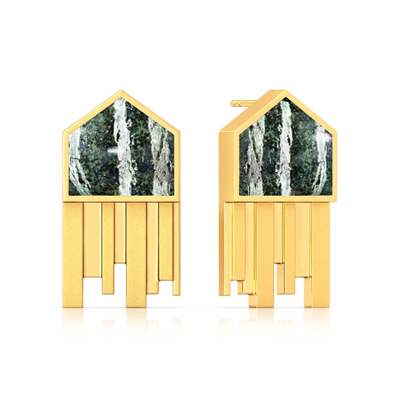 Pentagonal Stripes Gemstone Earrings