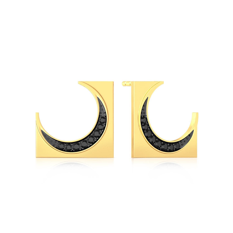 Black Crescent Diamond Earrings