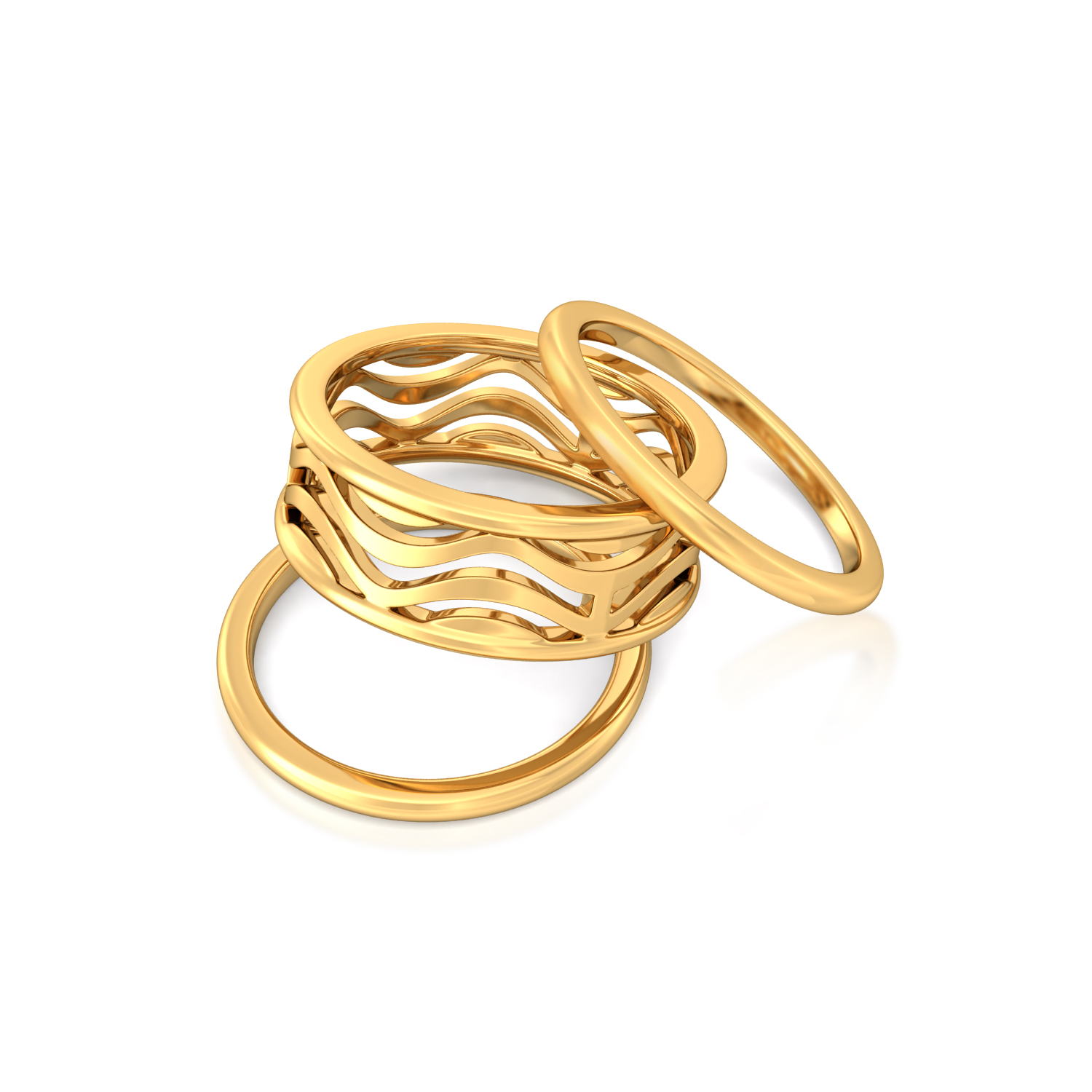 Swerve Curve Gold Rings