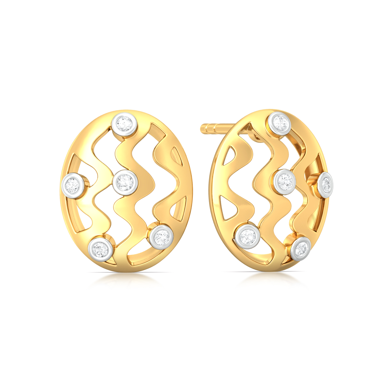 Vasarely Lines Diamond Earrings
