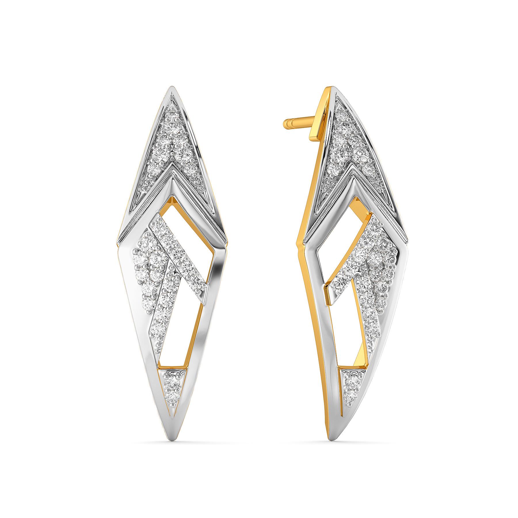 Strap Staple Diamond Earrings