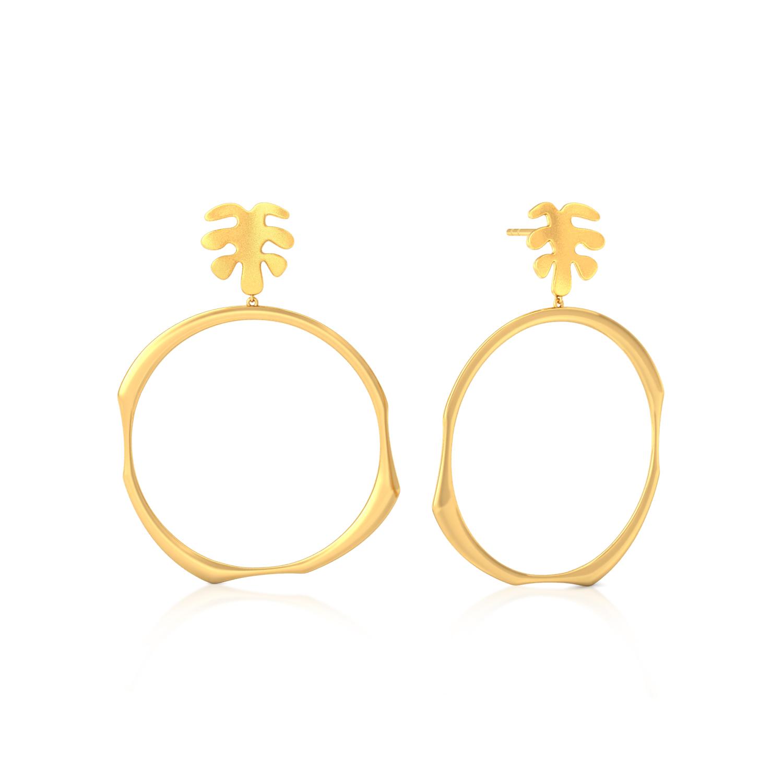 Oak Leaf Gold Earrings