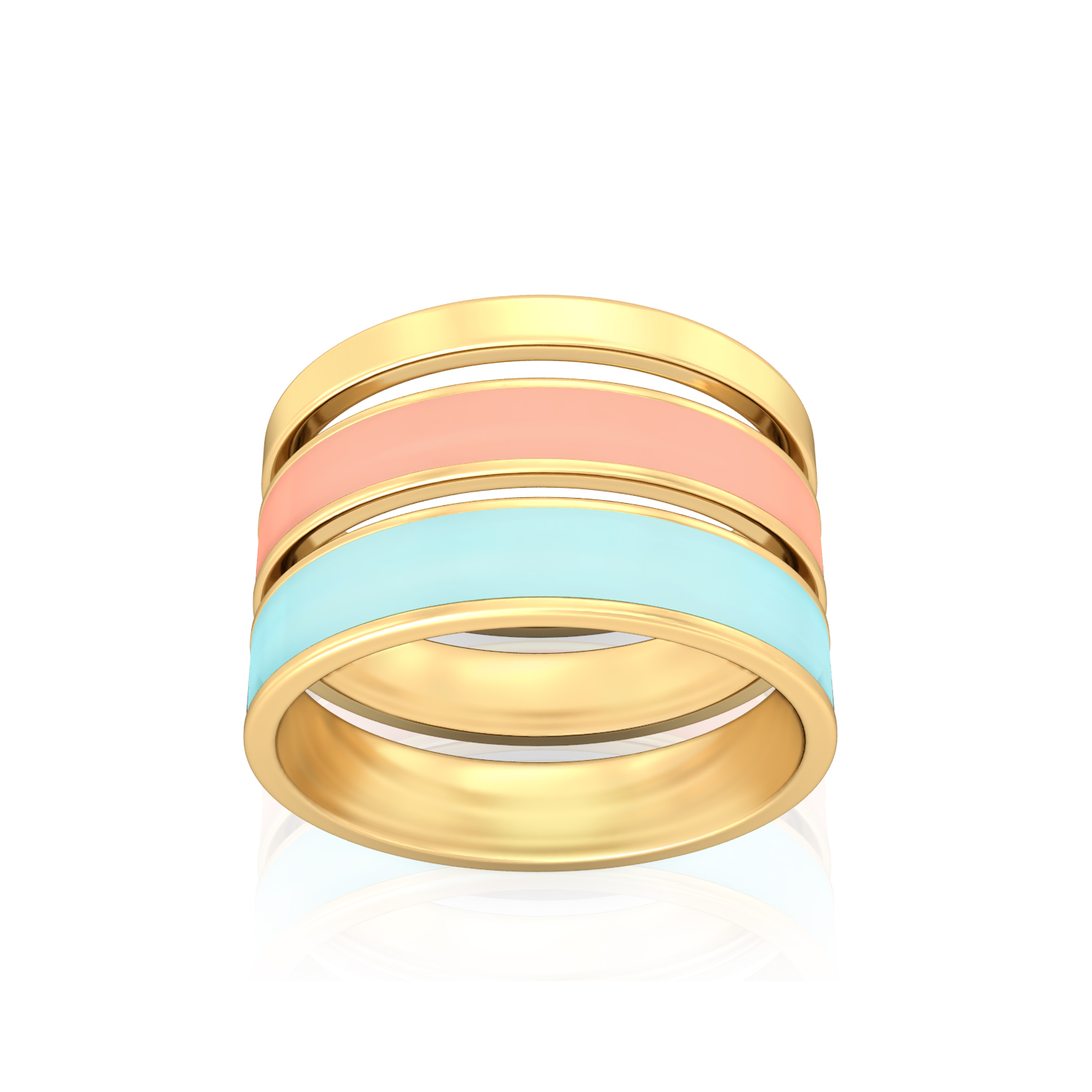 Striped Halo Gold Rings