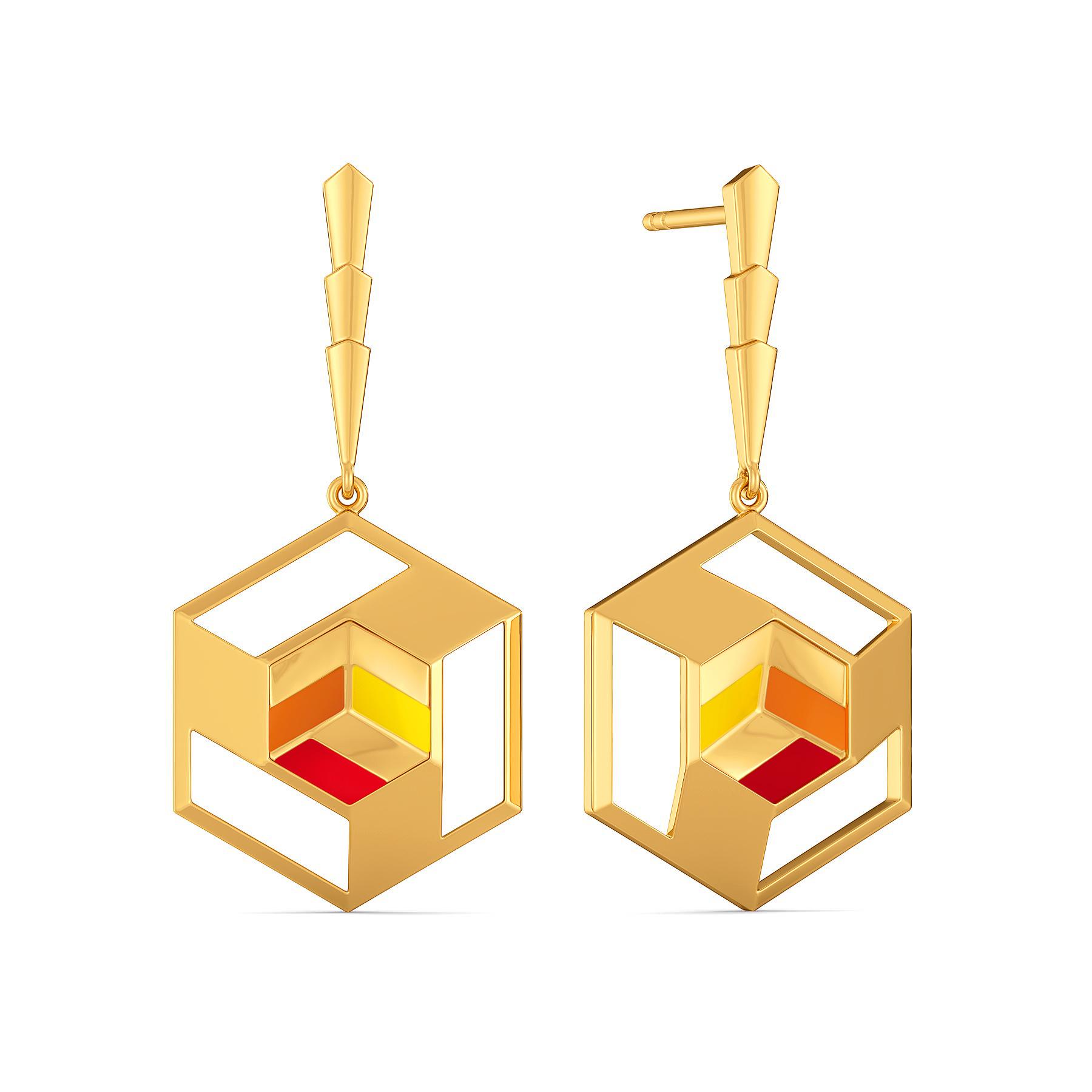 Block O Meter Gold Earrings