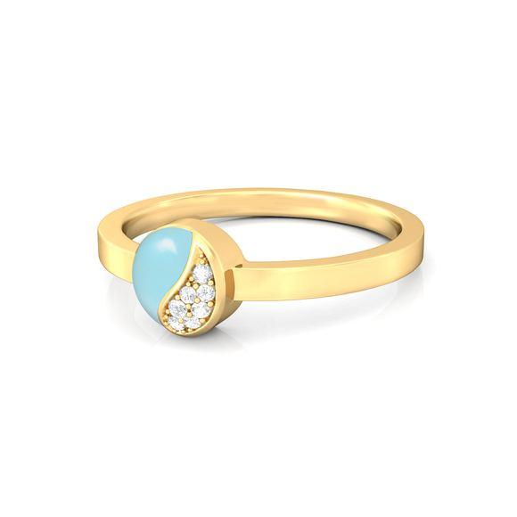Wave blue Diamond Rings