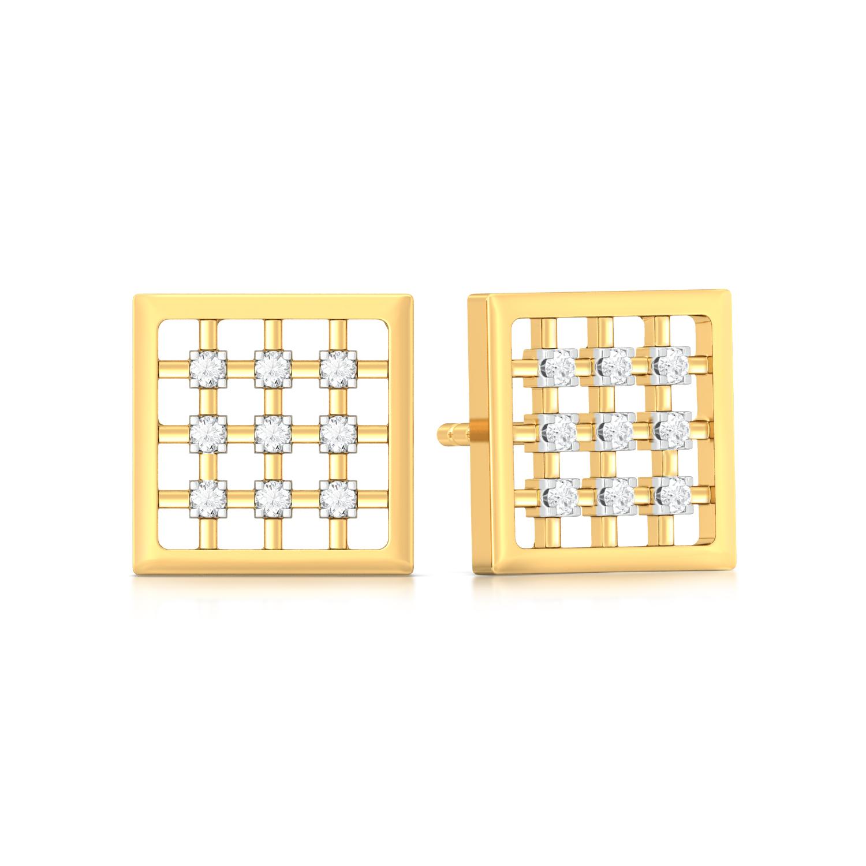 Gingham Style Diamond Earrings