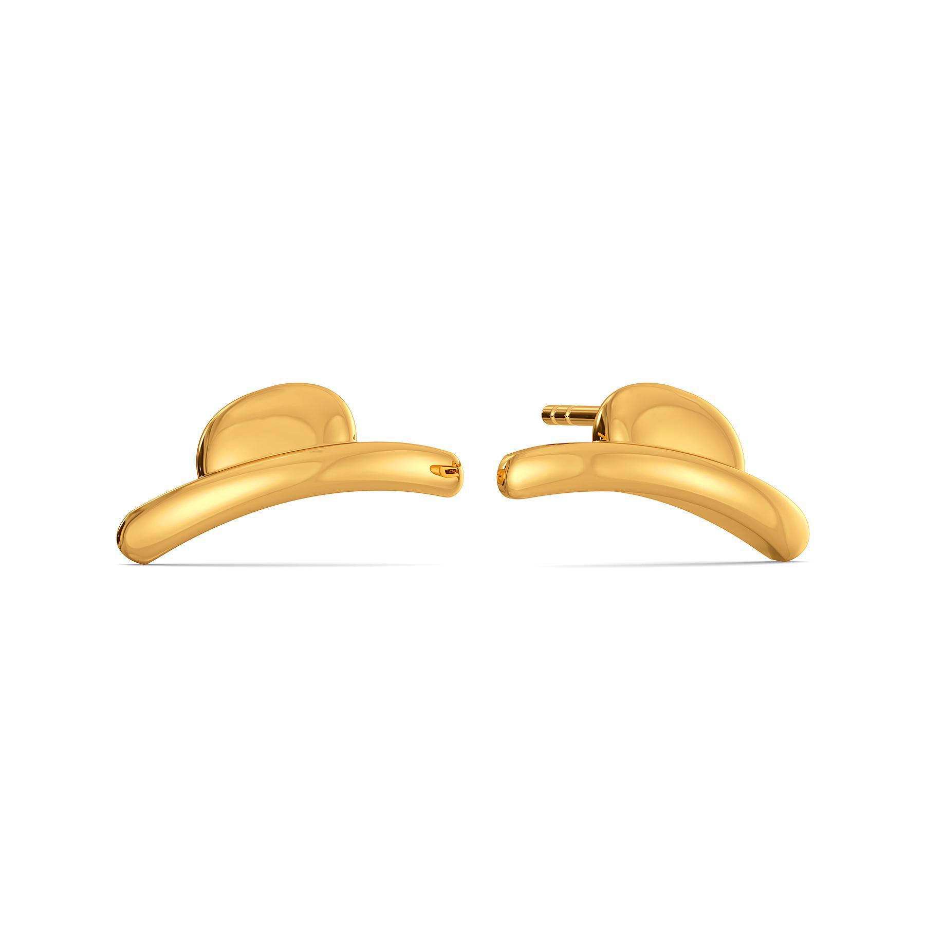 Playful Hats Gold Earrings