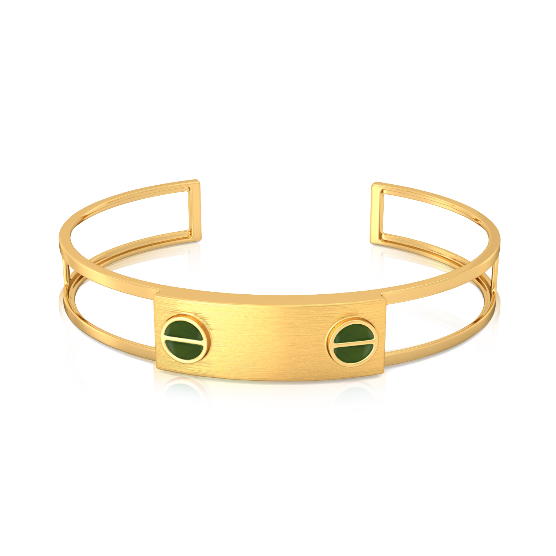 Green Bolts Gold Bangles