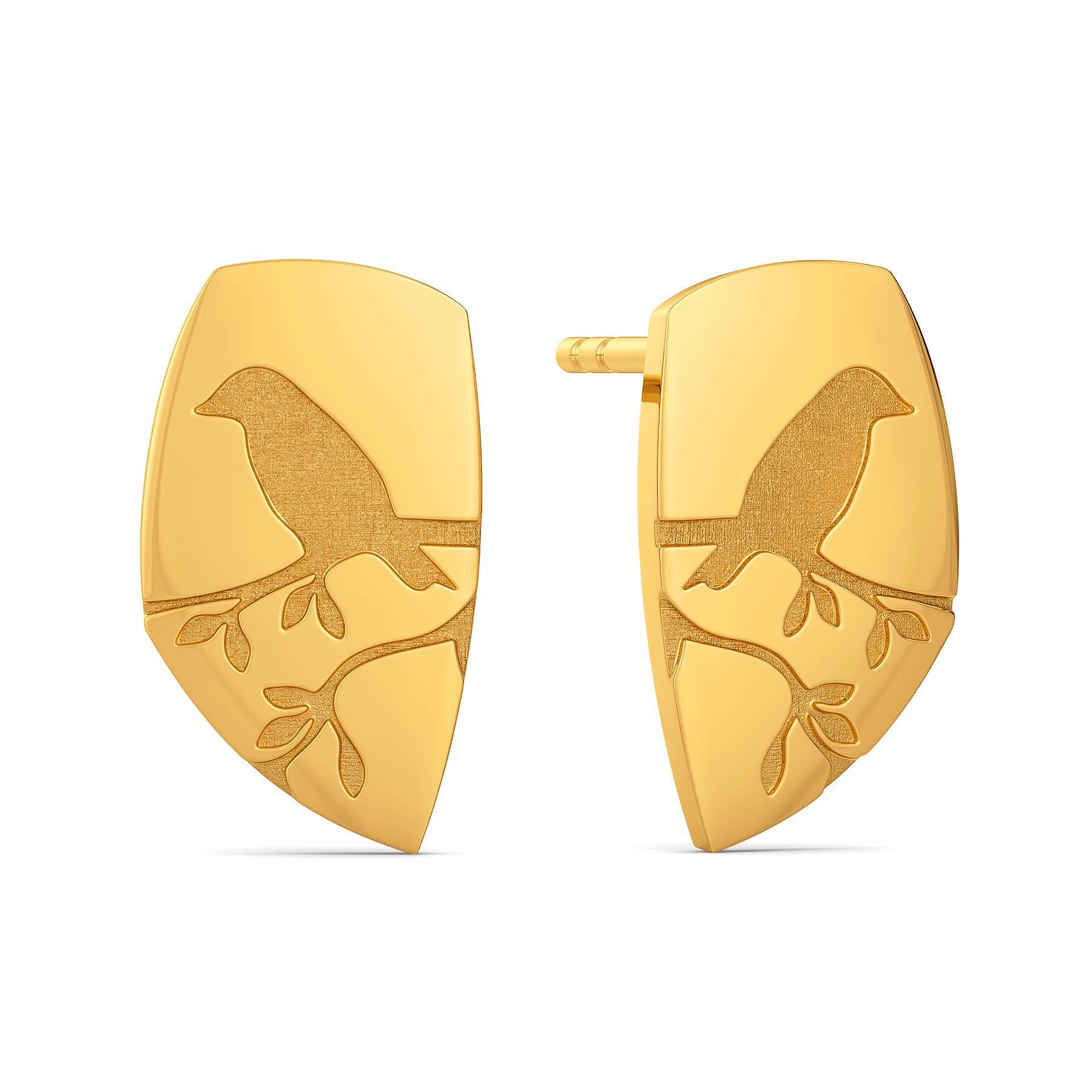 Nature Imprints Gold Earrings