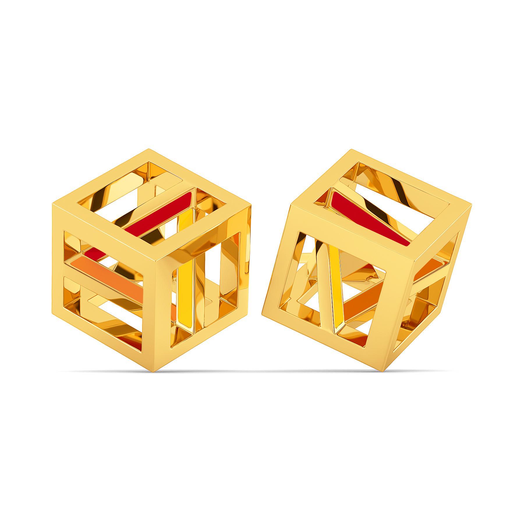 Pop Blocks Gold Earrings