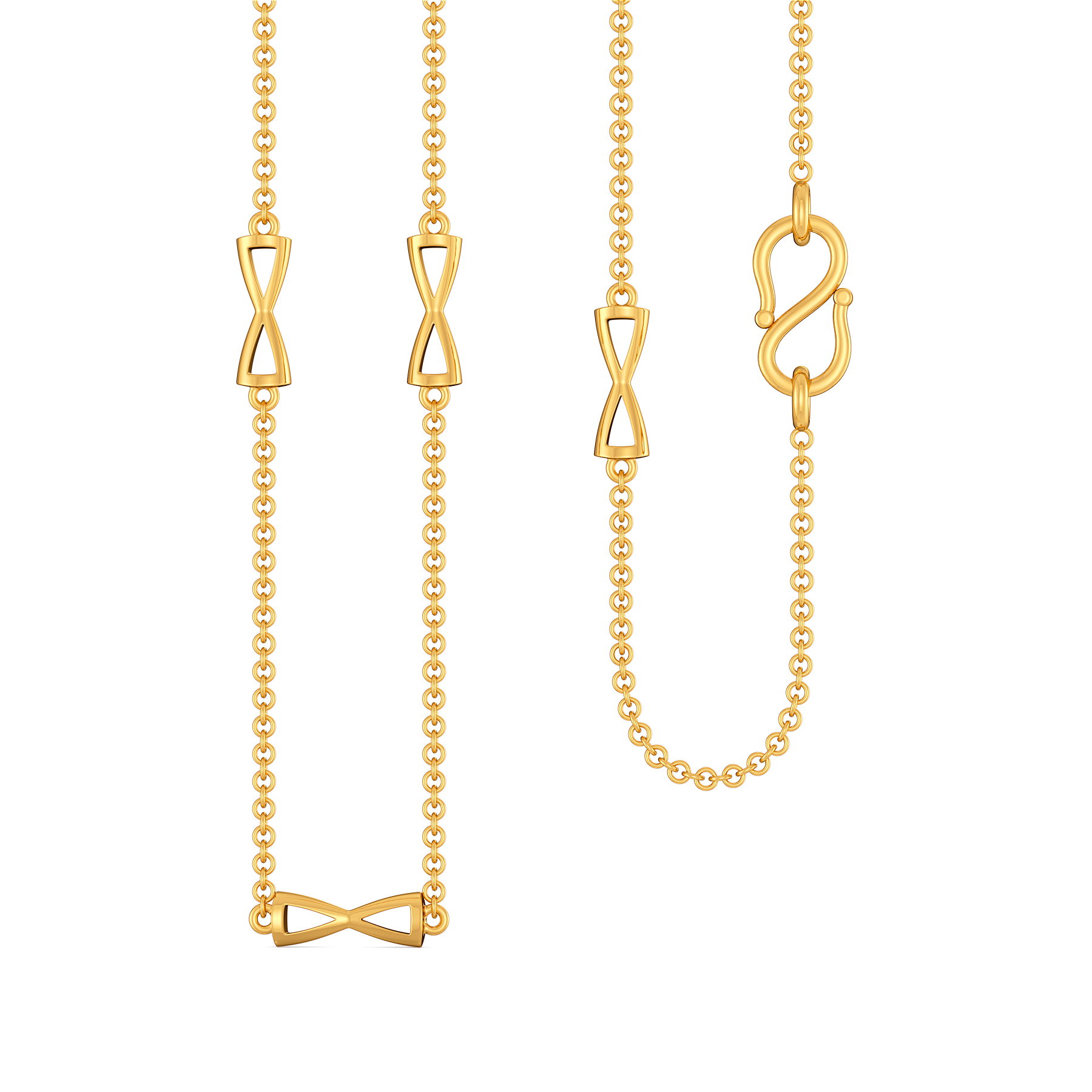 Bow Knots Gold Chains