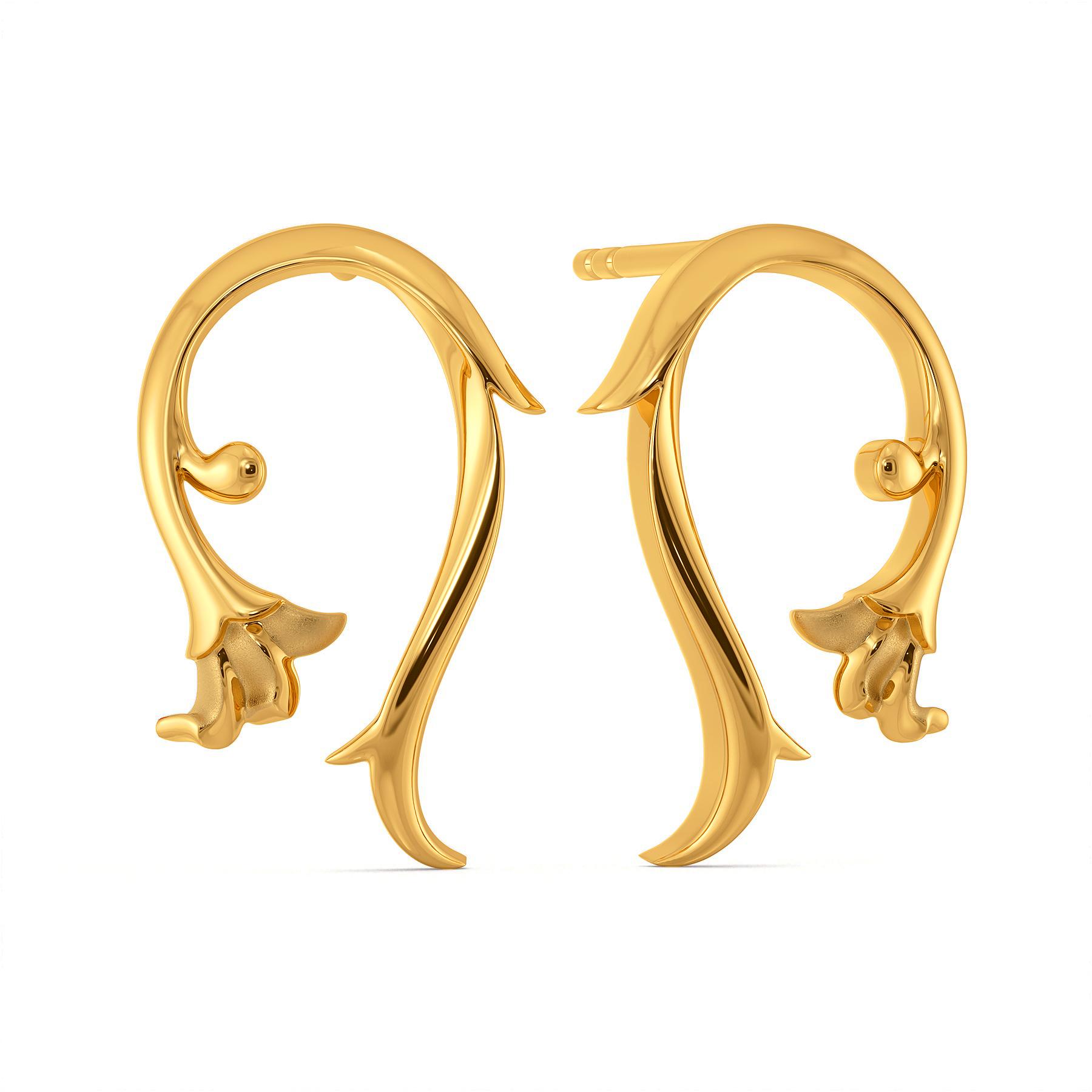 Trailing Vines Gold Earrings