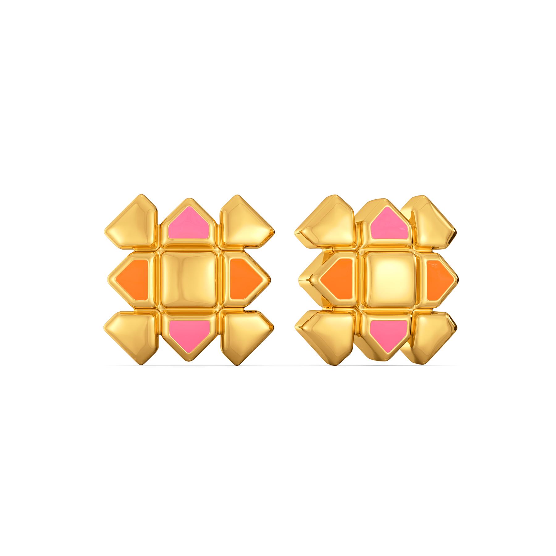 Pattern Positive Gold Earrings
