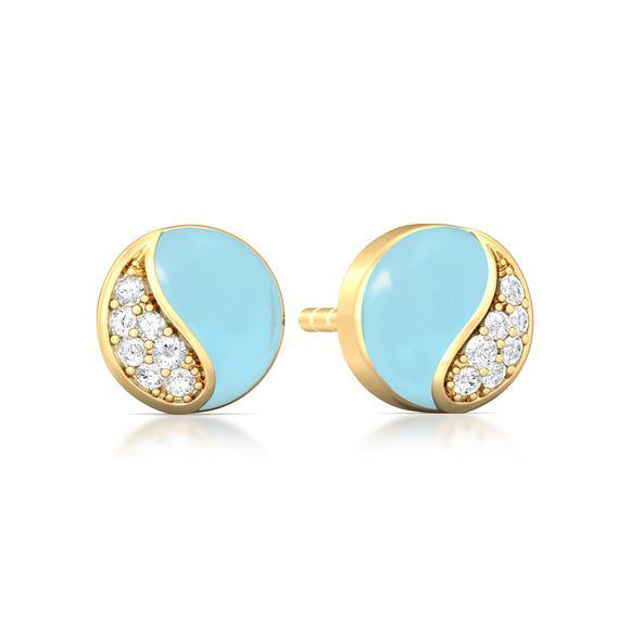 Wave blue Diamond Earrings