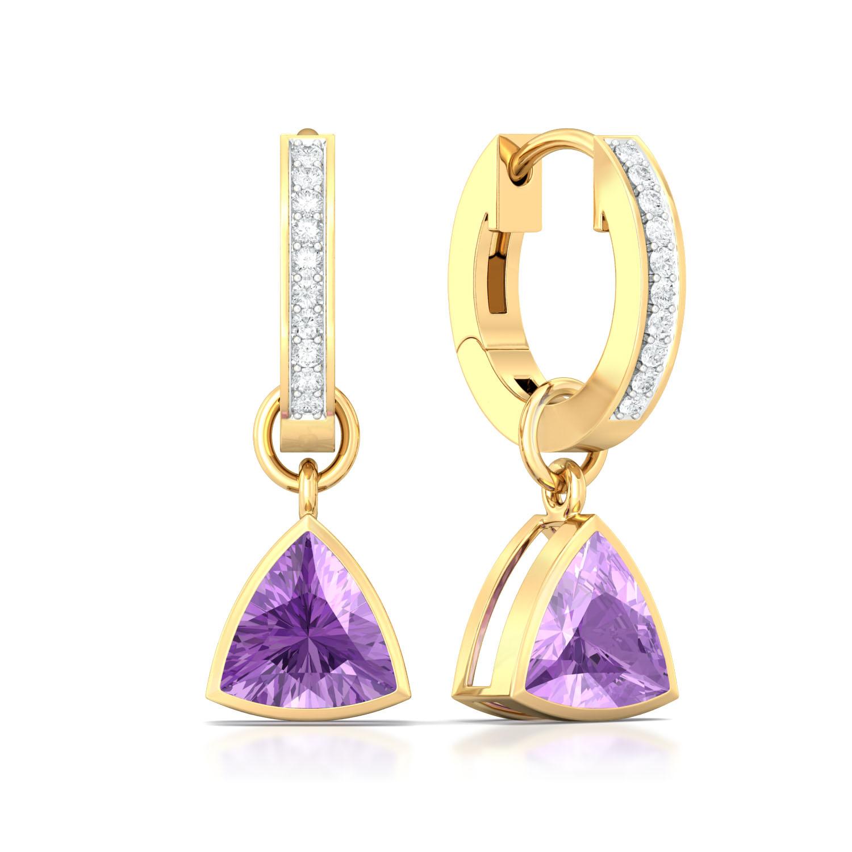 Deep Purple Diamond Earrings