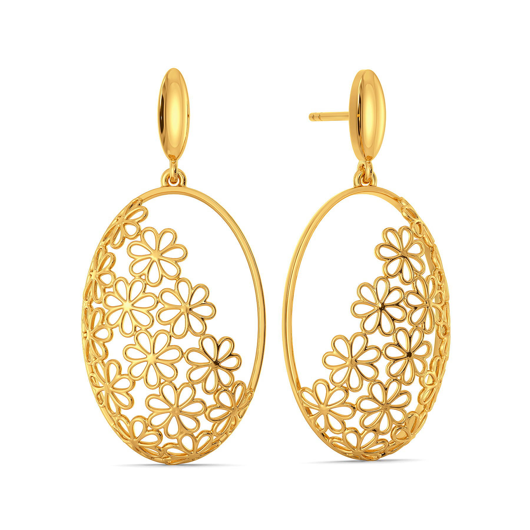 Lace Blossoms Gold Earrings