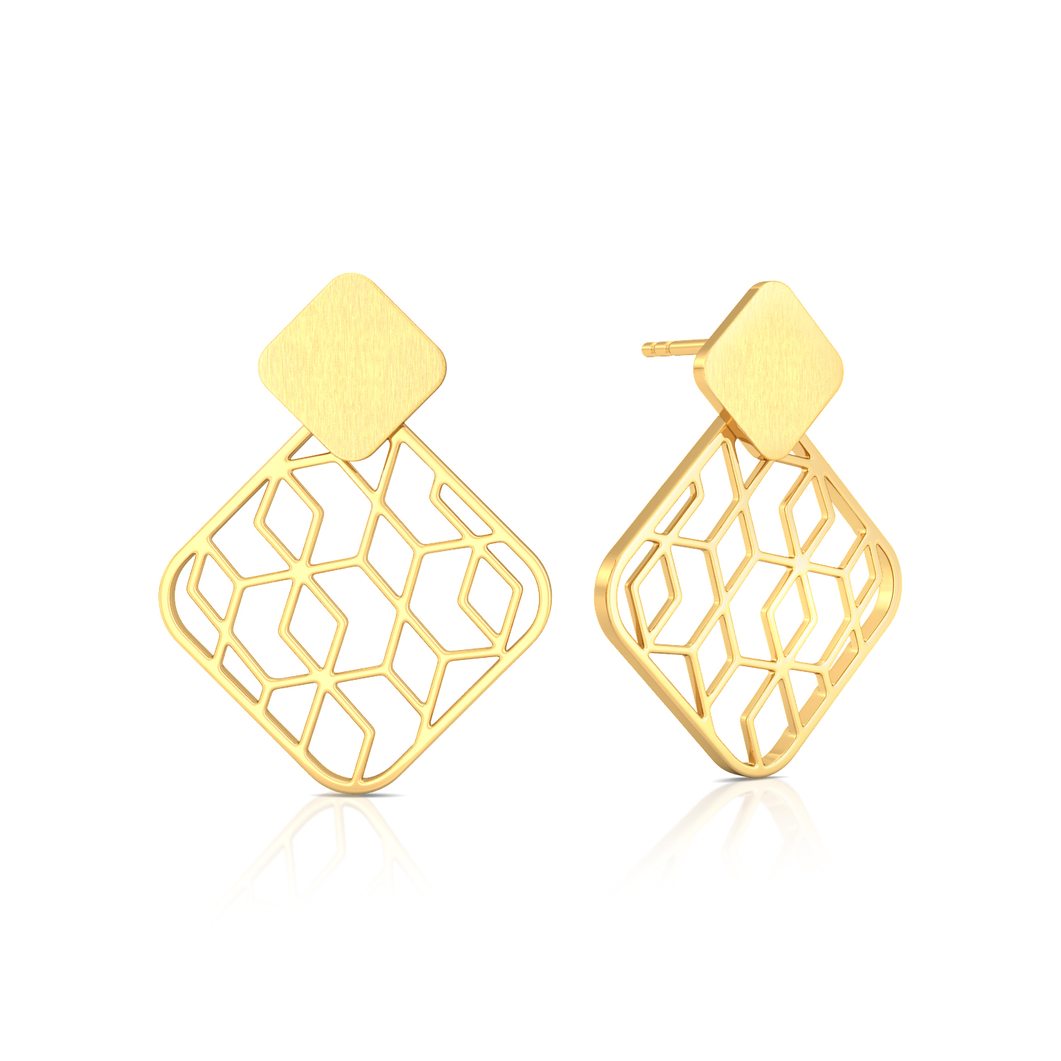 On The Square Gold Earrings