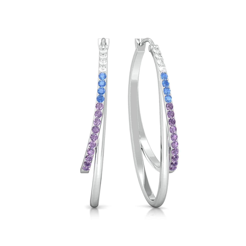 Polychrome blend Diamond Earrings