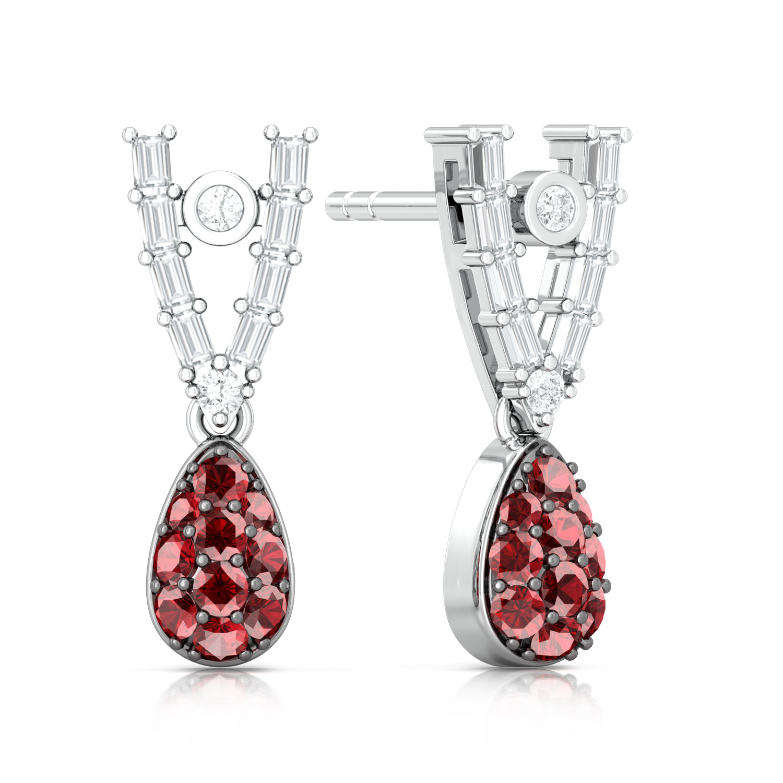 Drop Red Gorgeous Diamond Earrings