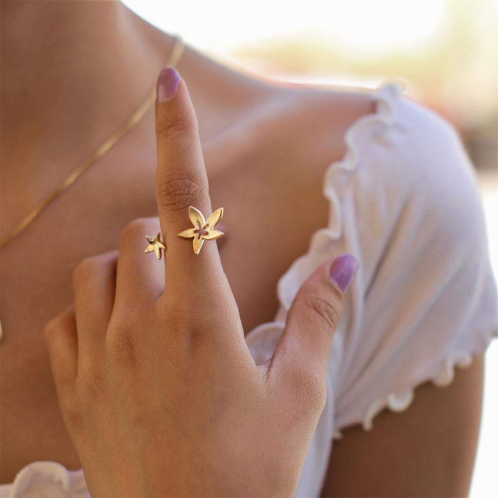 Golden Starflower Gold Rings