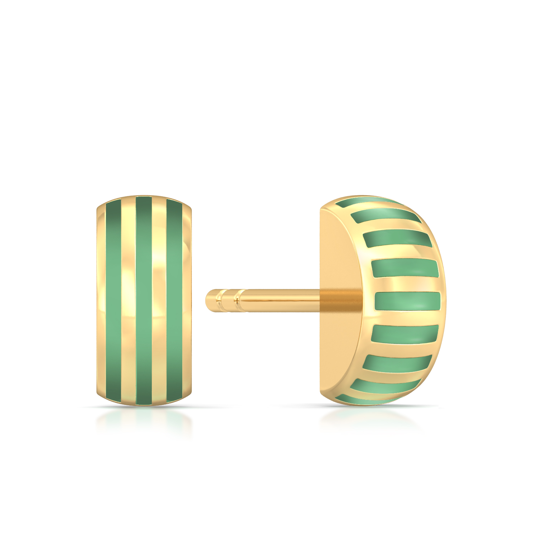 Pinstriped Green Gold Earrings