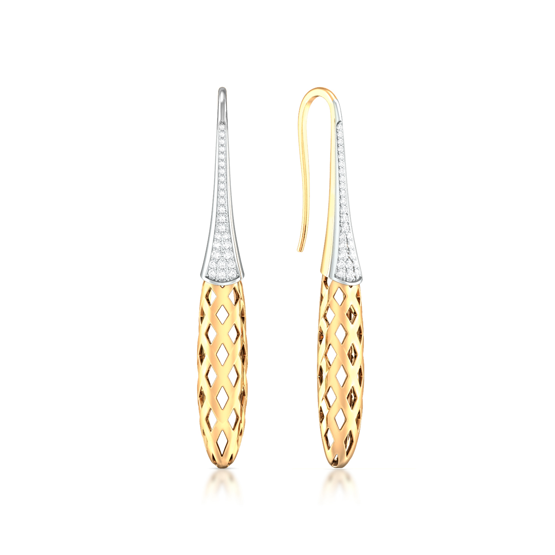 Golden Weave Diamond Earrings