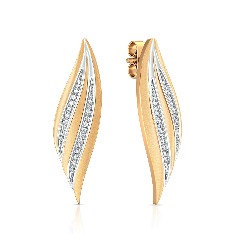 Golden Feather Diamond Earrings