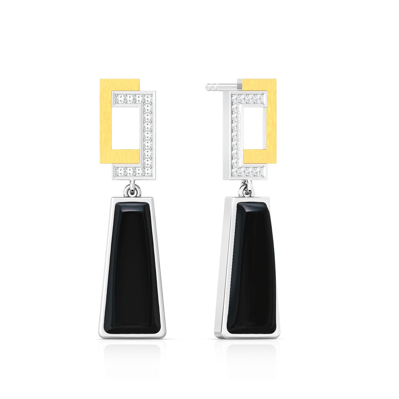 Little Black Onyx Diamond Earrings