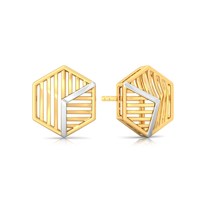 Hexa-Face Gold Earrings