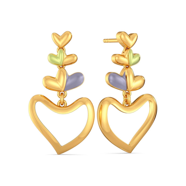 Bouquet of Hearts Gold Earrings
