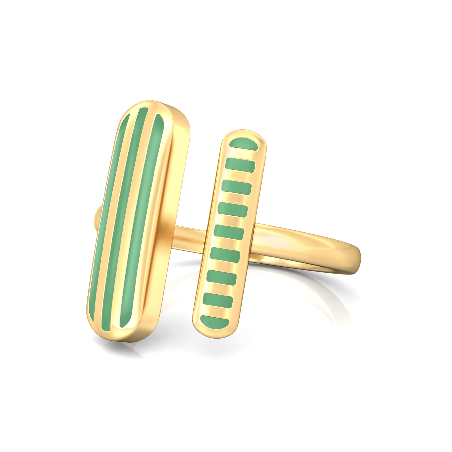 Pinstriped Green Gold Rings